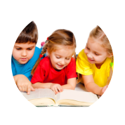 three kids reading book