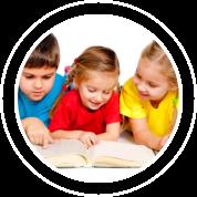 three kids reading book